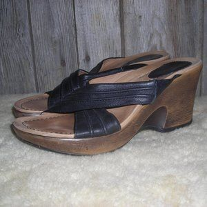Dansko Black Strappy Open Toe Wedge Sandals